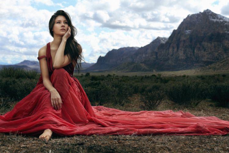 Nanako Hawley women women outdoors brunette long hair red dress dress sitting mountains landscape looking away clouds wallpaper
