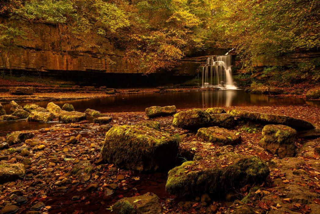 waterfall fall forest nature landscape stones water wallpaper