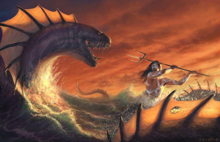 fantasy leviathan sea monsters wallpaper