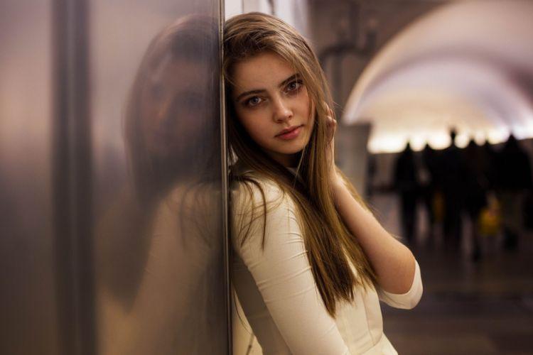 women model brunette long hair women outdoors face urban reflection looking at viewer people wallpaper