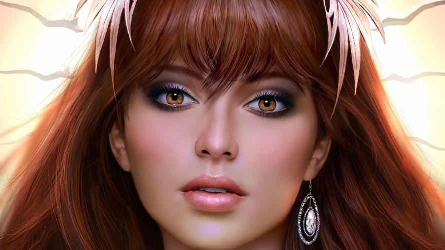 digital art face bangs redhead portrait open mouth looking at viewer women hoop earrings brown eyes fantasy girl leaves wallpaper