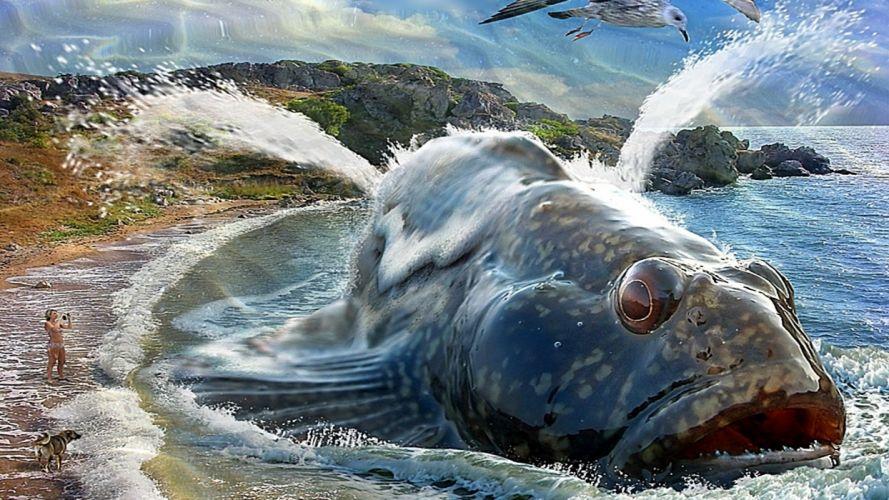 Invading Fish wallpaper
