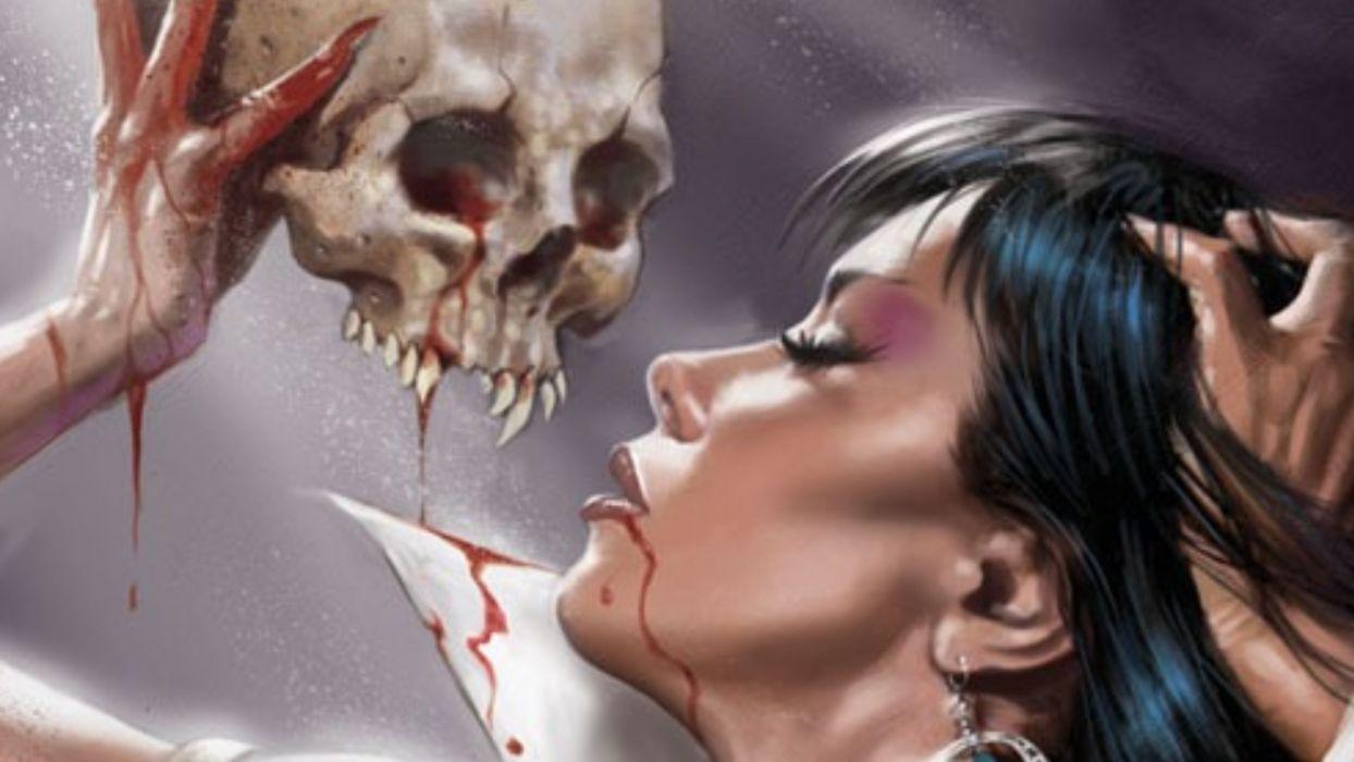 ARTS comics-Vampirella-girls-blood-drawin-skull wallpaper