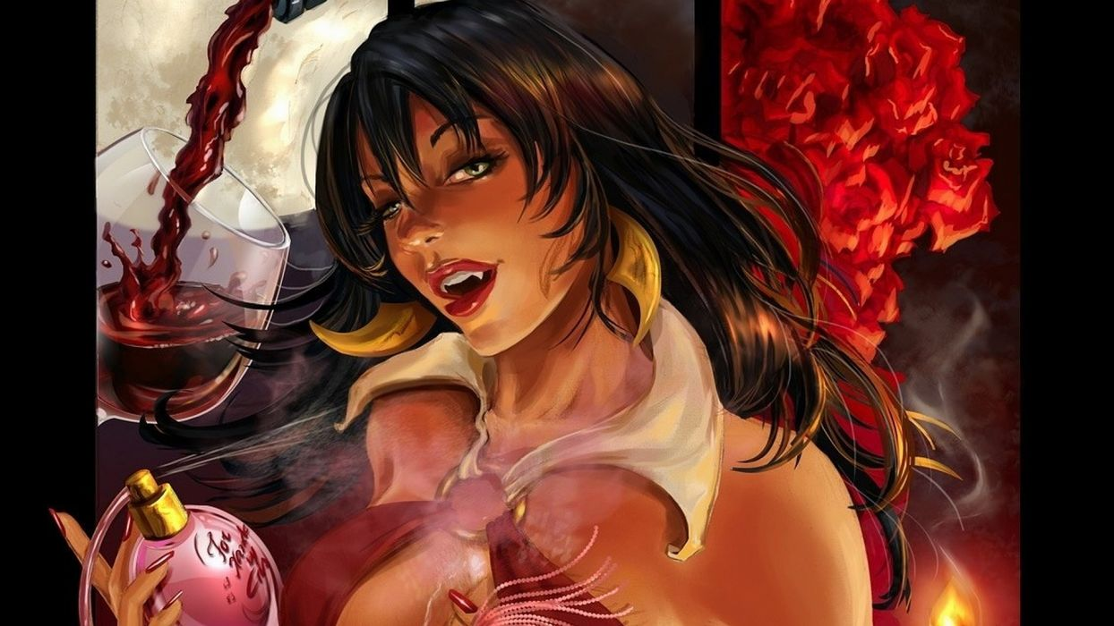 ARTS comics-Vampirella-girls-blood-drawin-perfume-wine wallpaper