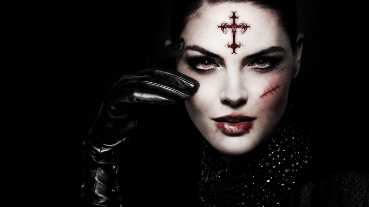 GOTHIC face-girls-dark-glove-cross-scar wallpaper