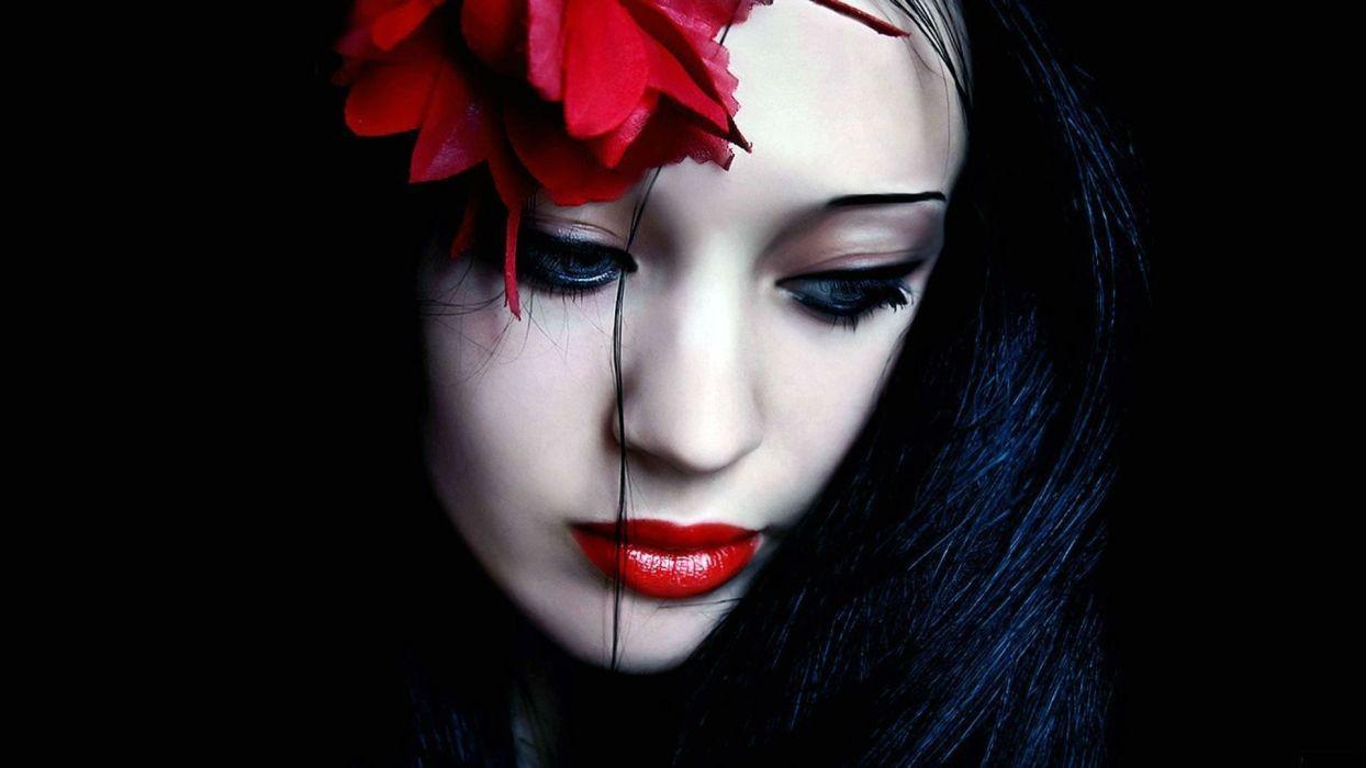 GOTHIC face-girls-dark-women-girls-vampire-sad wallpaper