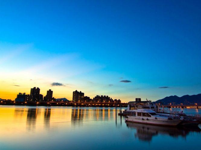 puesta sol Taipei bahia barcos wallpaper
