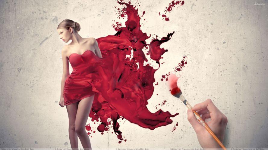 ARTS girls-sexy-artistic-paint-brush-ink-red dress wallpaper