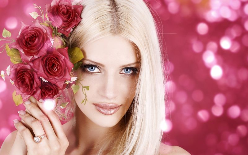 FACES girls-sexy-blonde-roses wallpaper