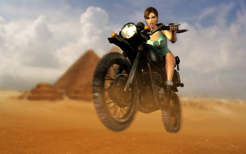 GAMES Tomb Raider-Lara Croft-motorcycle-desert wallpaper