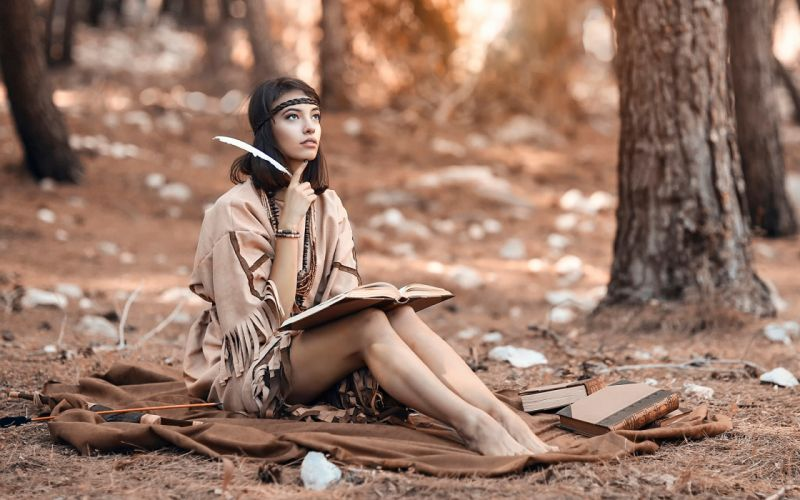PHOTOGRAPHY girls-forests-woods-feather-book wallpaper