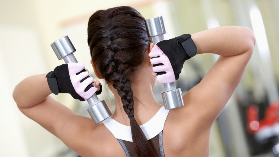 SPORTS girls-sexy-gym-fitness-dumbbells-exercise-arm-braid-glove wallpaper