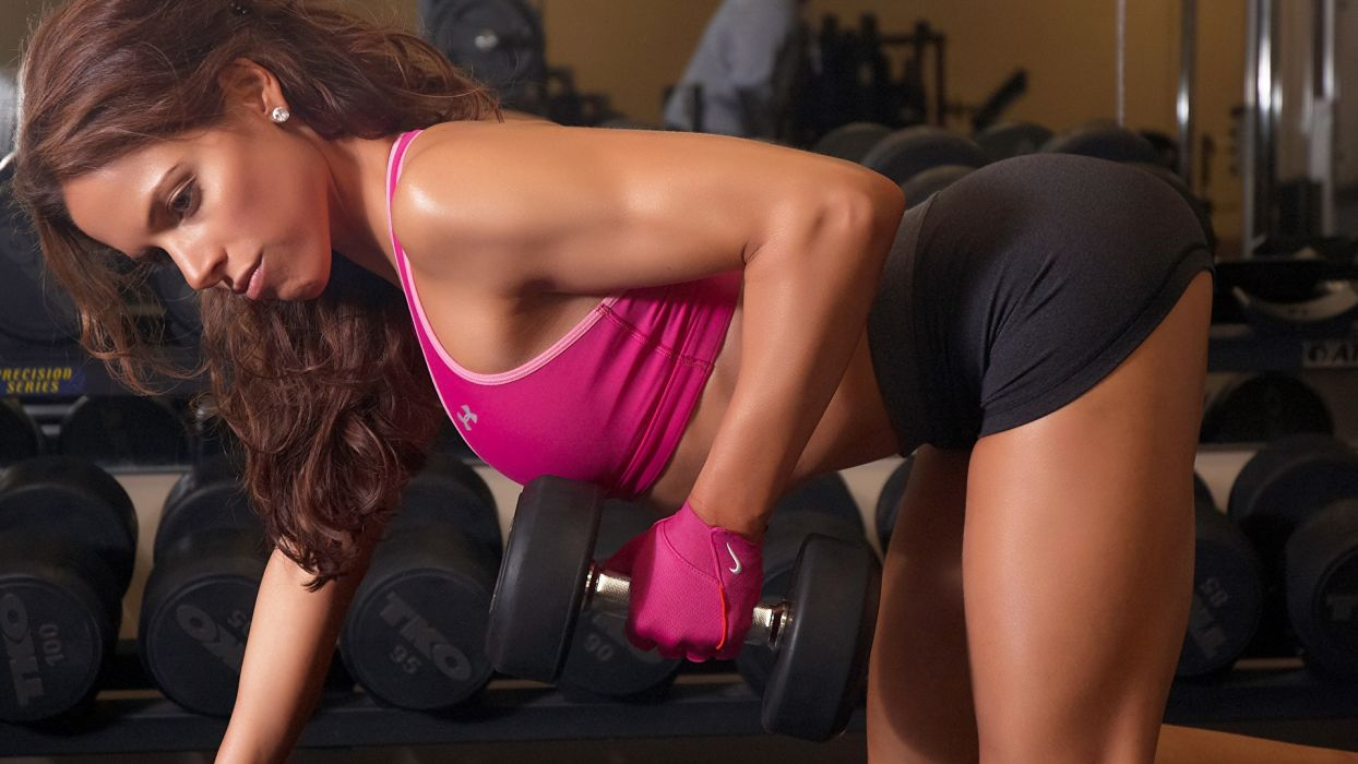 SPORTS girls-sexy-gym-fitness-dumbbells-exercise-arm-glove wallpaper