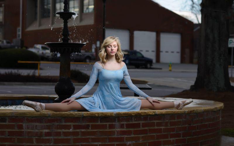 SPORTS gymnastics-girls-exercise-stretching-legs-blonde-ballet dress wallpaper