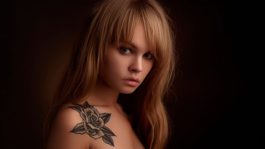 SENSUALITY Anastasia Shcheglova-girls-sexy-women-model-lips-tattoo-blonde wallpaper