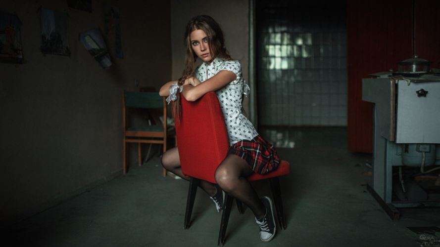 SENSUALITY Kseniya Klimenko-girls-sexy-women-model-legs-chair-skirt-stockings wallpaper