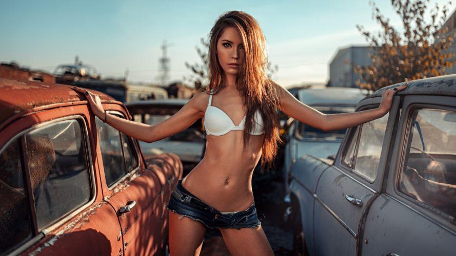 SENSUALITY Xenia Kokoreva-girls-sexy-women-model-belly-shorts-bra-car wallpaper