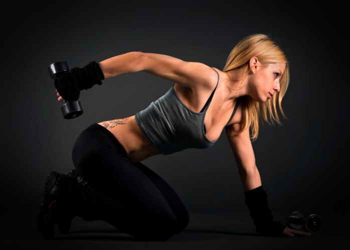 SPORTS girls-sexy-women-model-dumbbells-fitness-exercise-arm-triceps wallpaper