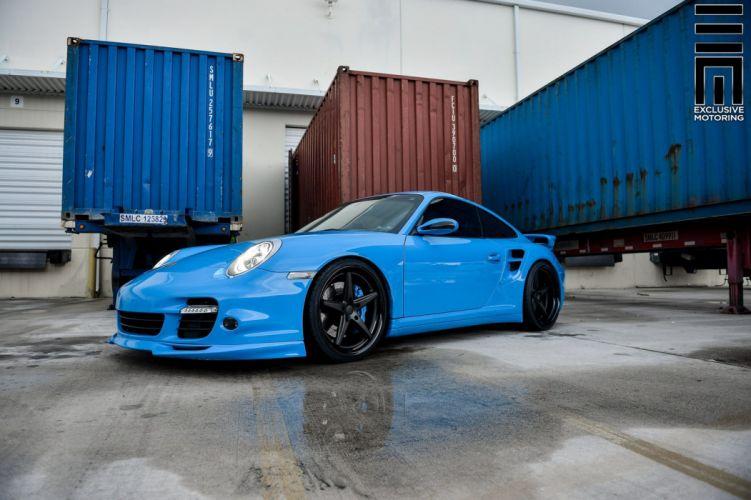 Porshce 911 blue Vossen wheels cars wallpaper