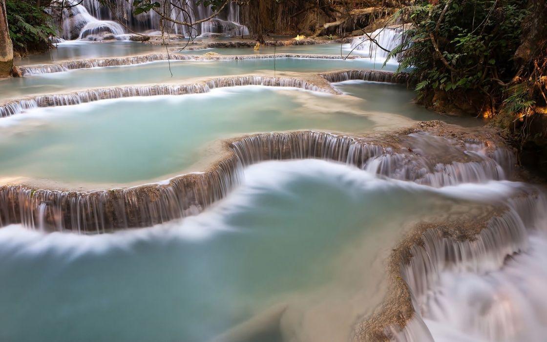 waterfall cascade forest water wallpaper
