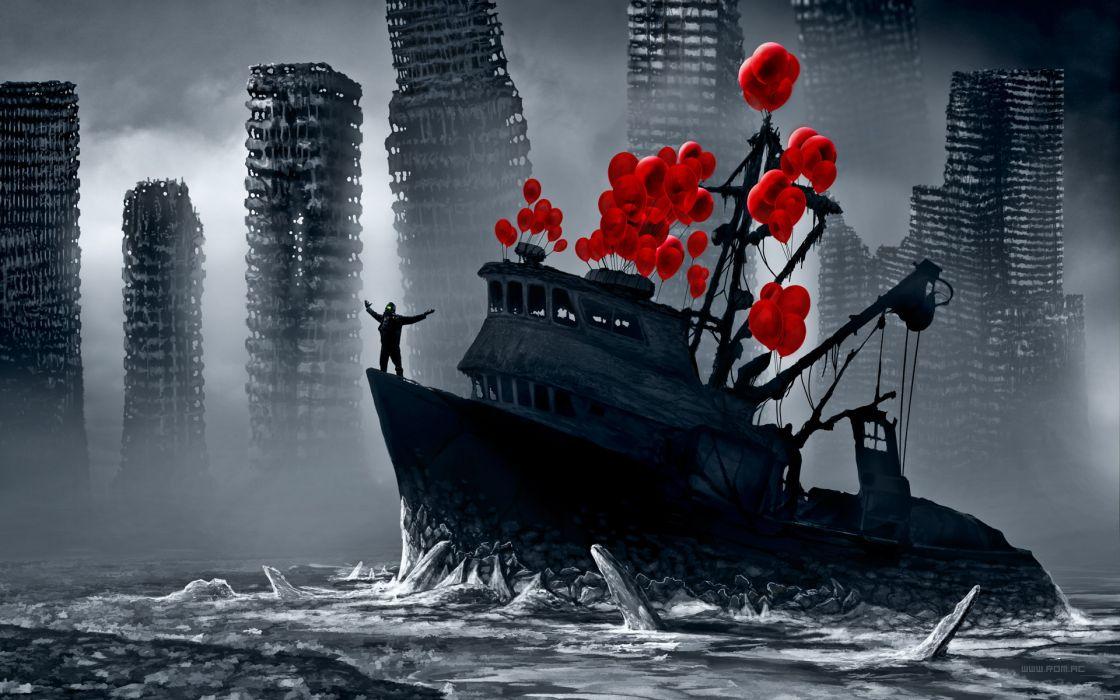 original man city fantasy balloons romantically apocalyptic alexiuss spread arms wallpaper