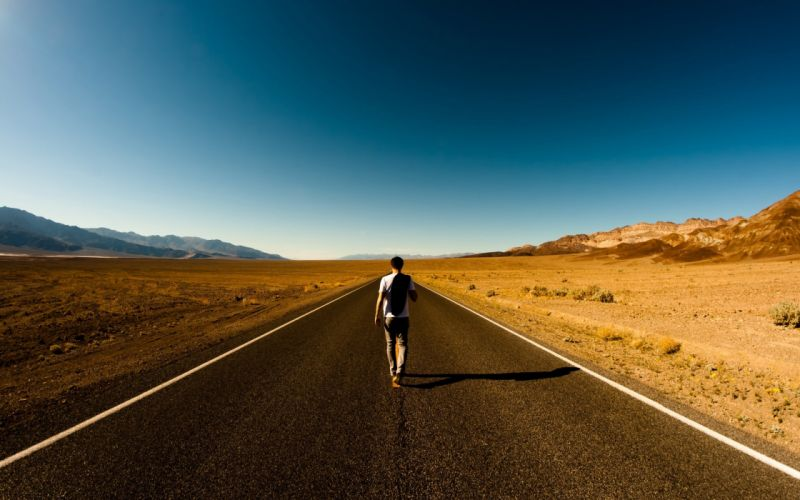 walk deserts roads male sky wallpaper