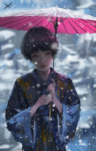 winter snow wlop oiginal girl woman beautiful fantasy art wallpaper