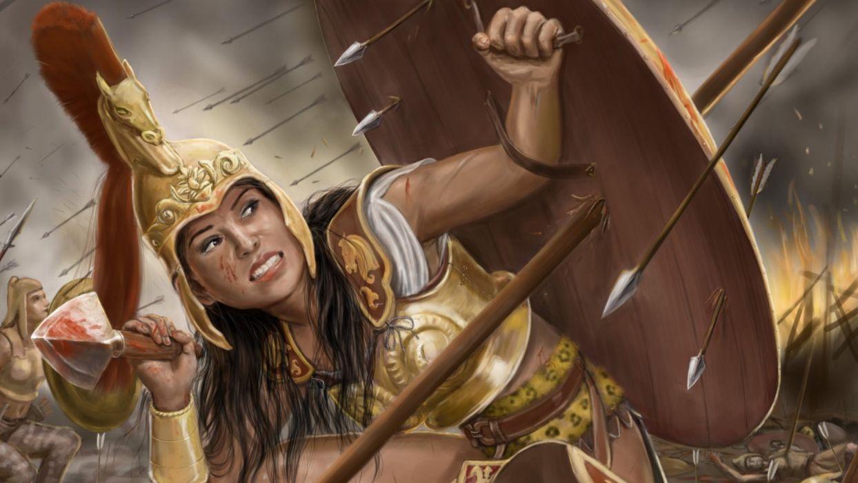 Arts girls-women-warrior-shield-arrows wallpaper