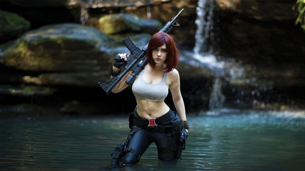 Cosplay girls-women-rifle-river wallpaper