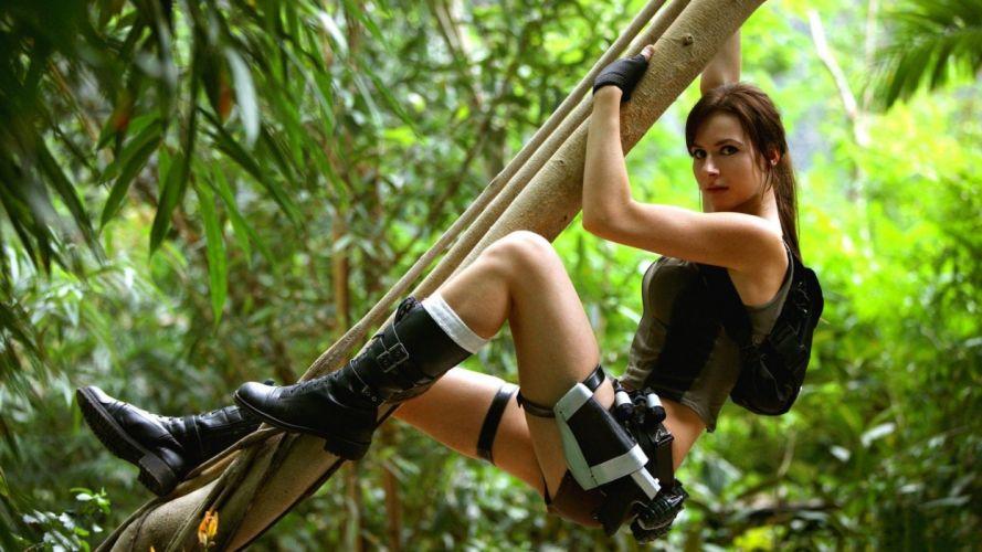 Cosplay girls-women-TR-Lara Croft-tree wallpaper