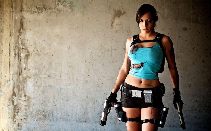 Cosplay girls-women-TR-Lara Croft-pistols-shirt-ripped wallpaper