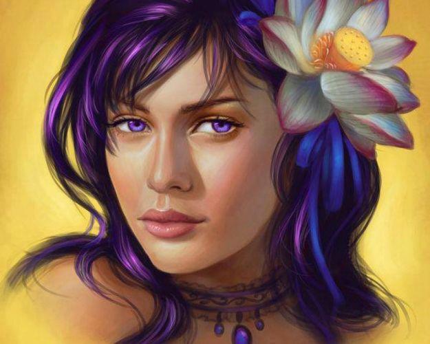flower hair blue girl face wallpaper