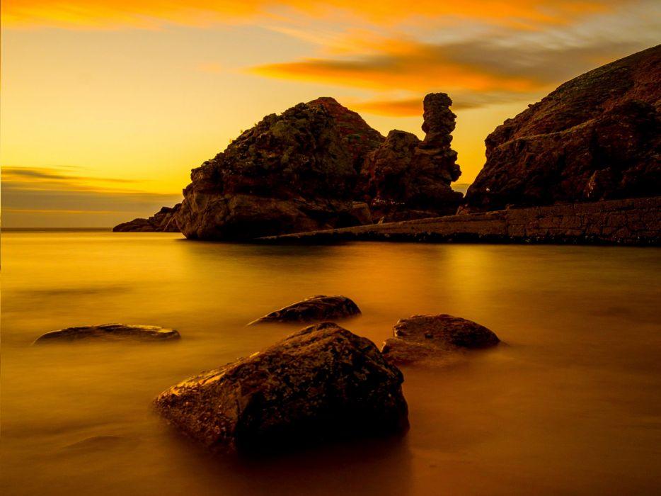 scotland sea beach rock golden sunset wallpaper