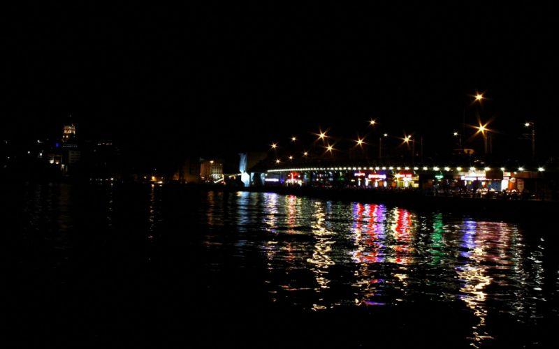 turkey bridge night istanbul galata wallpaper
