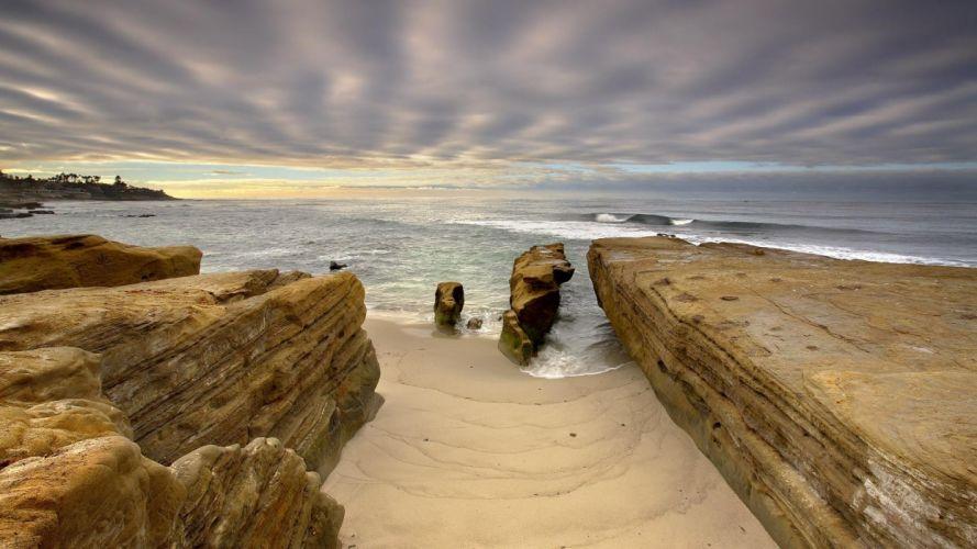 nature landscape water rock san diego california usa sea waves coast beach sand clouds palm trees sunlight long exposure wallpaper