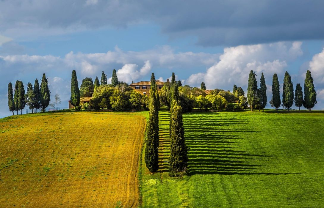 tuscany italy field trees villages clouds spring green nature landscape wallpaper