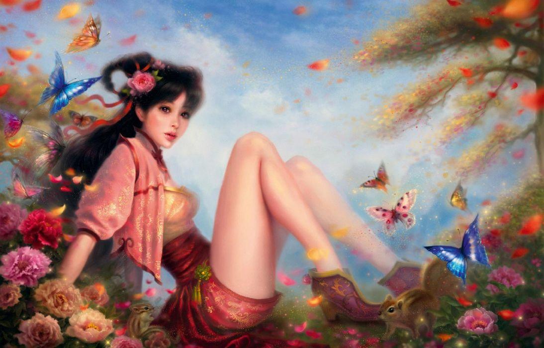 butterfly girl girl woman fantasy butterfly beautiful dressanimal flower Ruoxing zhang wallpaper