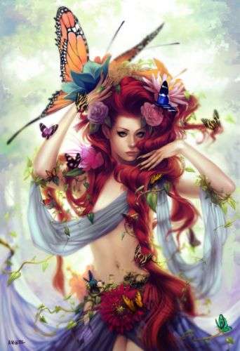 fantasy original woman butterfly red hair beautiful wallpaper