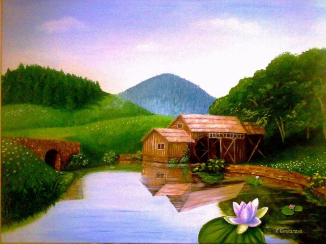 art hills waterlilly pond painting trees wallpaper