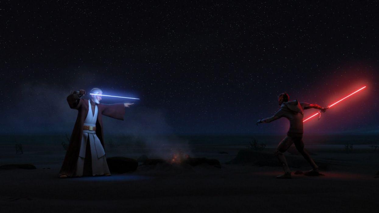 Star Wars Rebels Kenobi Vs Maul Wallpaper 2560x1440 1082788 Wallpaperup