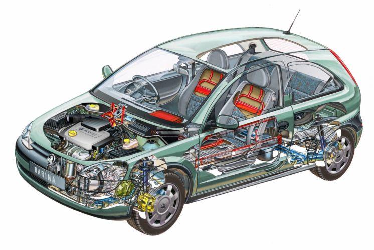 Holden Barina 3-door (XC) cars cutaway 2000 wallpaper