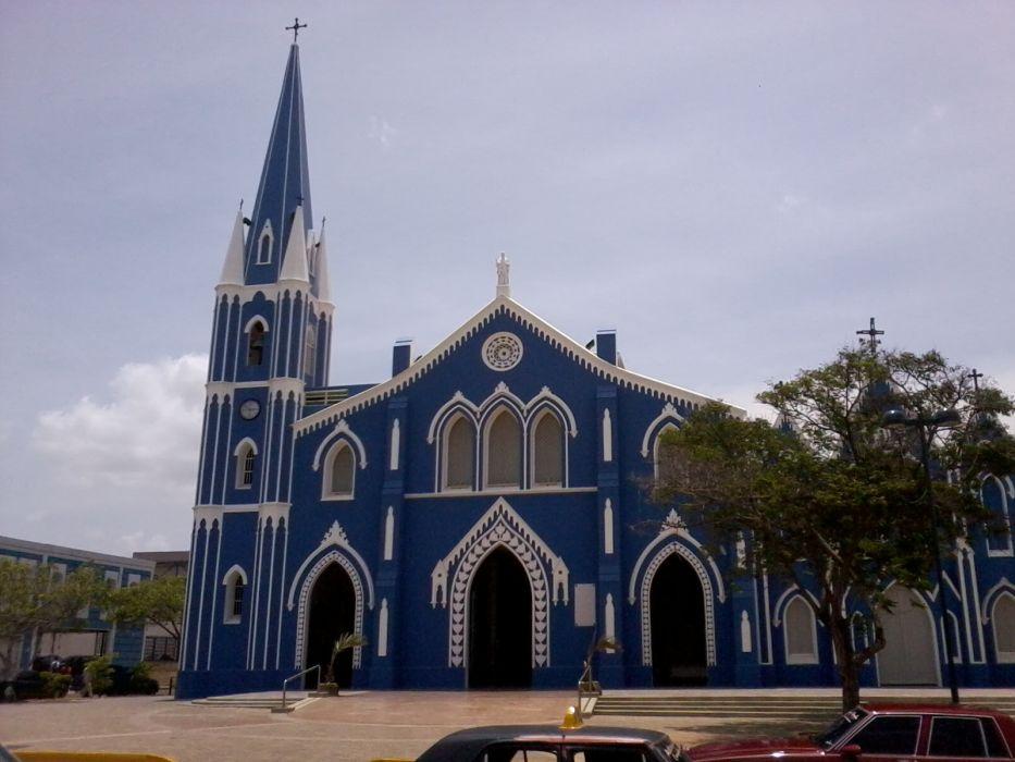 iglesia azul campanario mexico arquitectura wallpaper