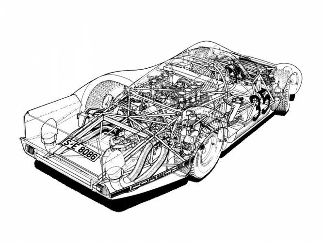 Porsche 908 Langheck LH Classic Race Car Cutaway wallpaper