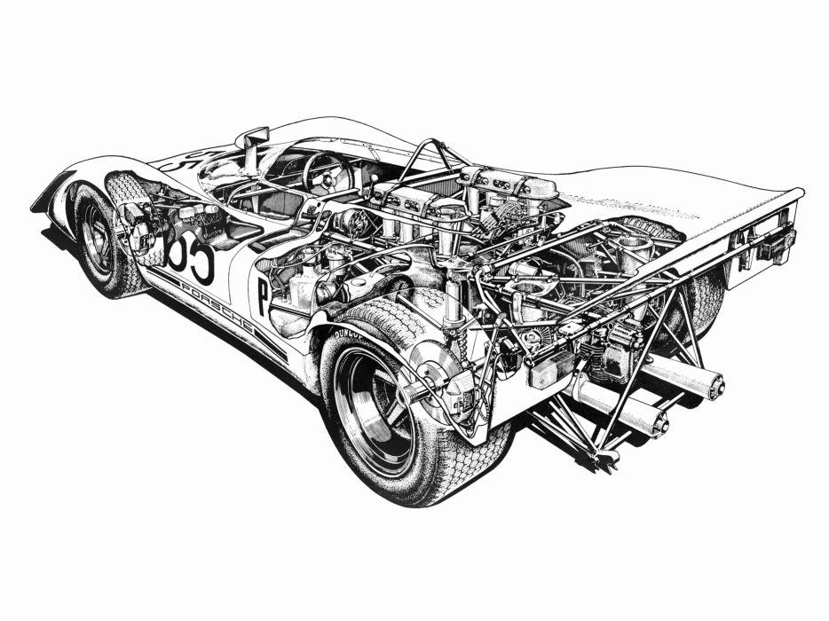 Porsche 908-2 Spyder Classic Race Car Cutaway wallpaper
