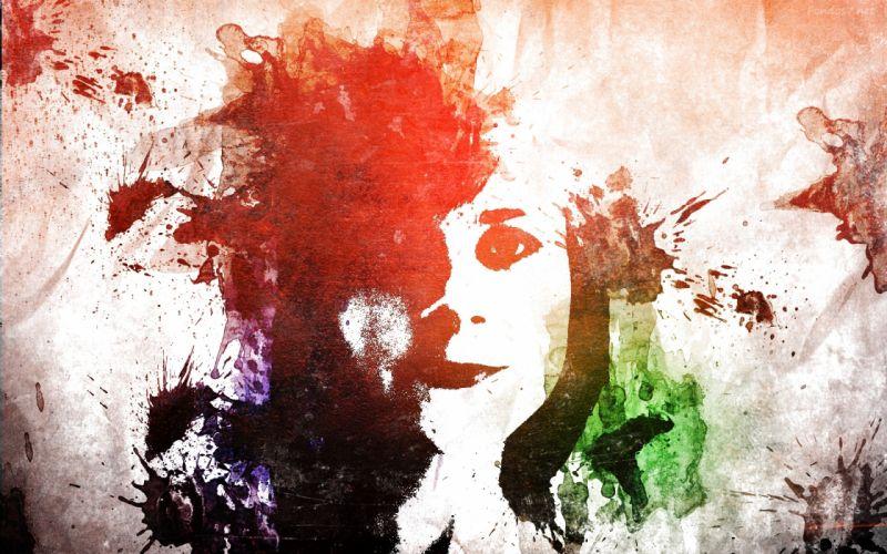 chica abstracta colores arte wallpaper