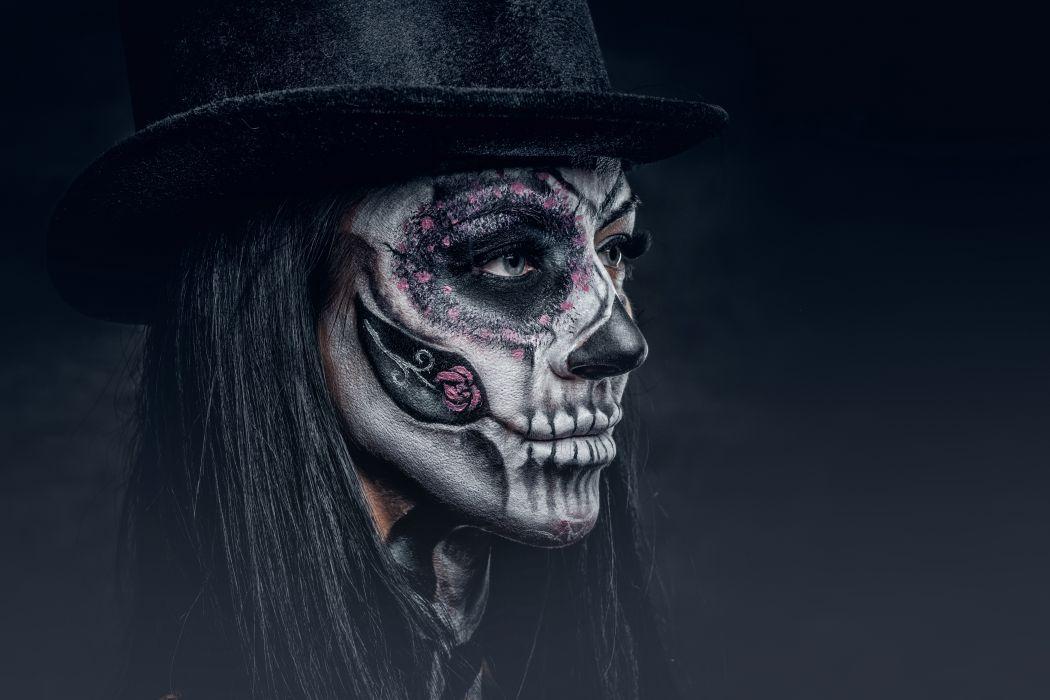 Faces girls-women-holidays-dead-tattoos-makeup-hat-stare wallpaper