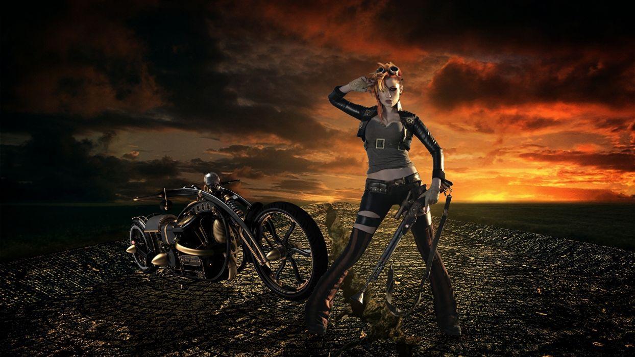 Women & Machines arts-girls-blonde-motorcycle-motorcyclist-jacket-gun wallpaper