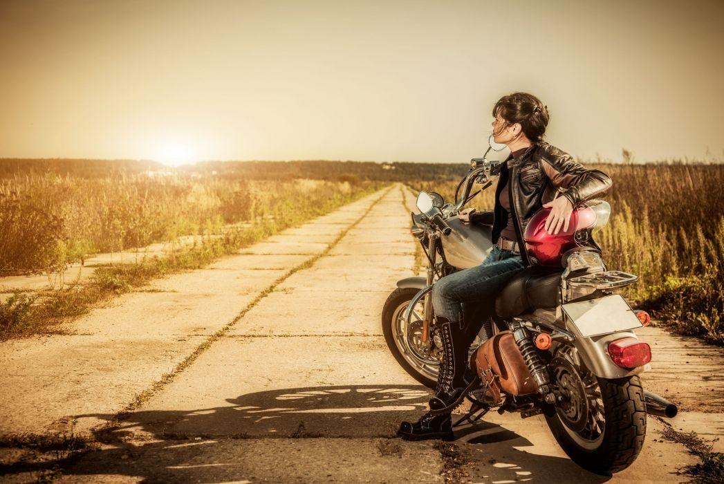 Women & Machines arts-girls-motorcycle-motorcyclist-roads-jacket-jeans-boots wallpaper