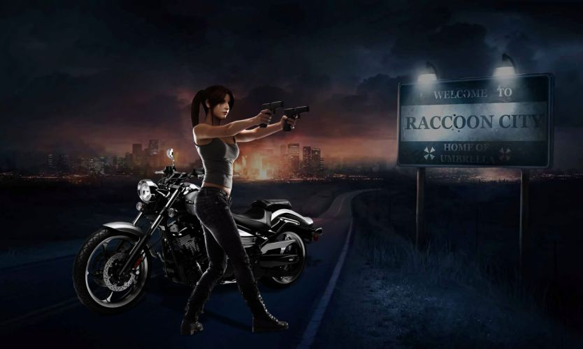 Women & Machines games-girls-motorcycle-motorcyclist-Resident Evil-roads wallpaper
