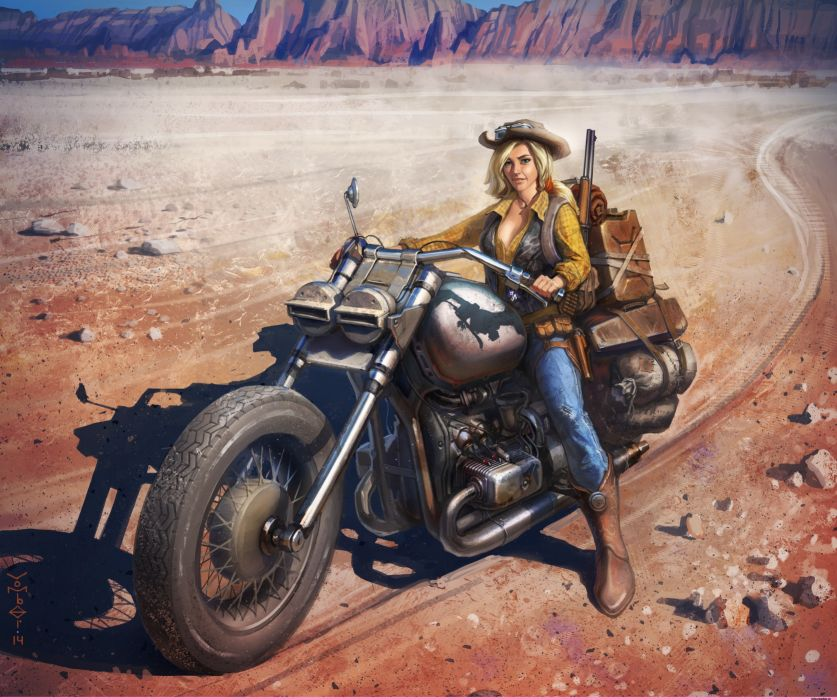 Women & Machines arts-girls-blonde-motorcycle-motorcyclist-jacket-desert wallpaper